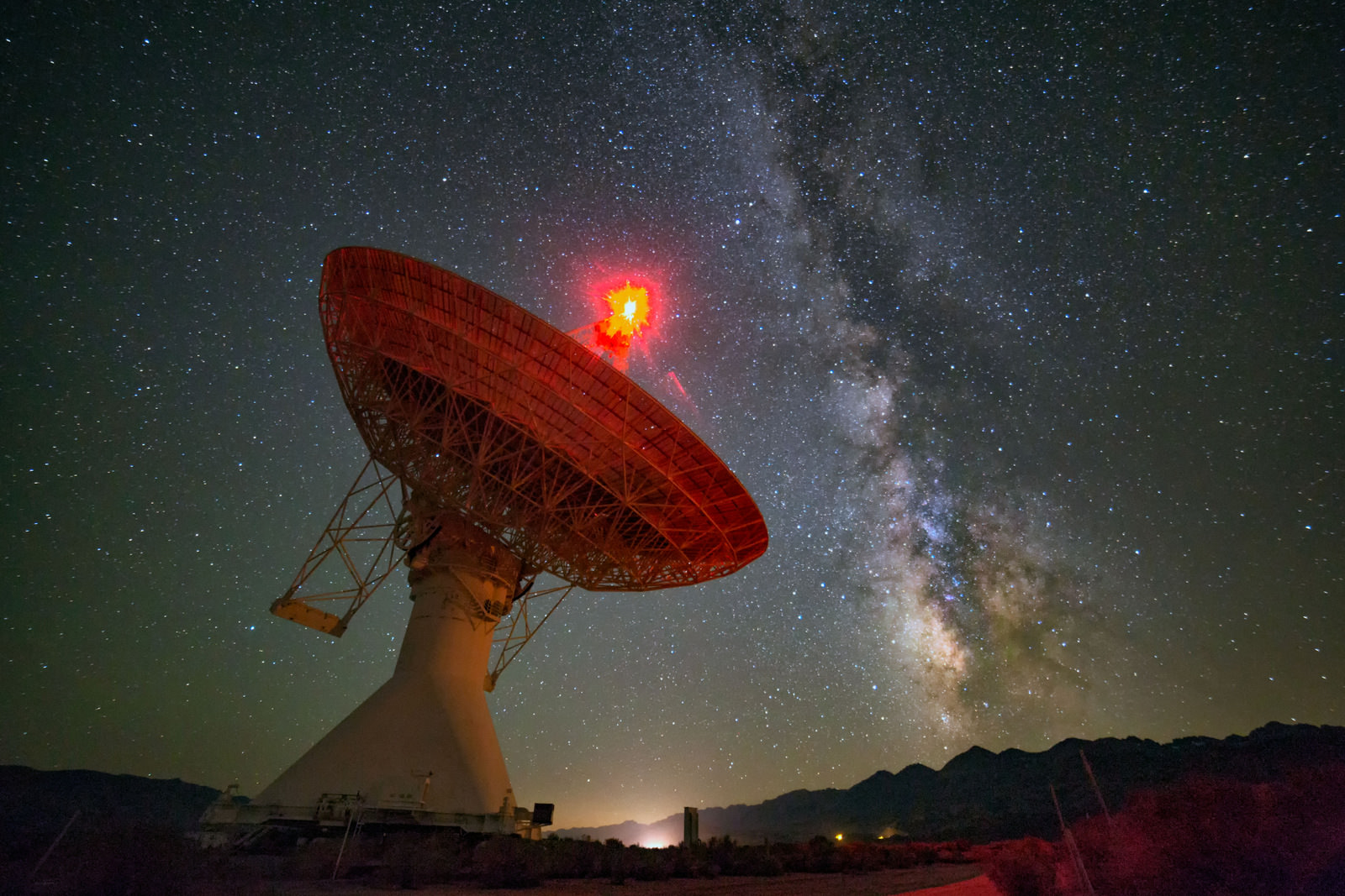 A radio dish at Owens Valley Observatory in Owens Valley California. Credit and copyright:  Credit and copyright: Harun Mehmedinovic and Gavin Heffernan.