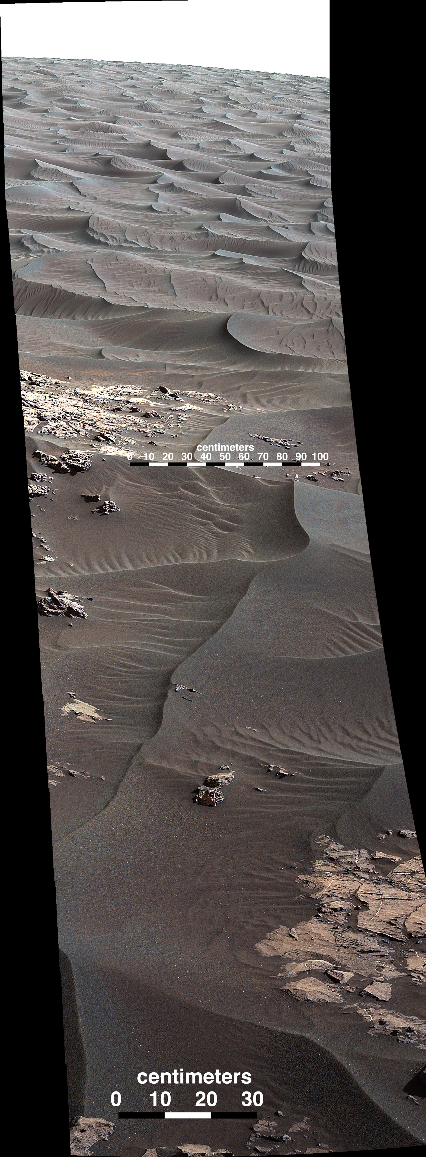 "The rippled surface of the first Martian sand dune ever studied up close fills this Nov. 27, 2015, view of ""High Dune"" from the Mast Camera on NASA's Curiosity rover. This site is part of the ""Bagnold Dunes"" field of active dark dunes along the northwestern flank of Mount Sharp.  The raw images for this mosaic were taken on Nov. 27, 2015, Sol 1176.  Credits: NASA/JPL-Caltech/MSSS"