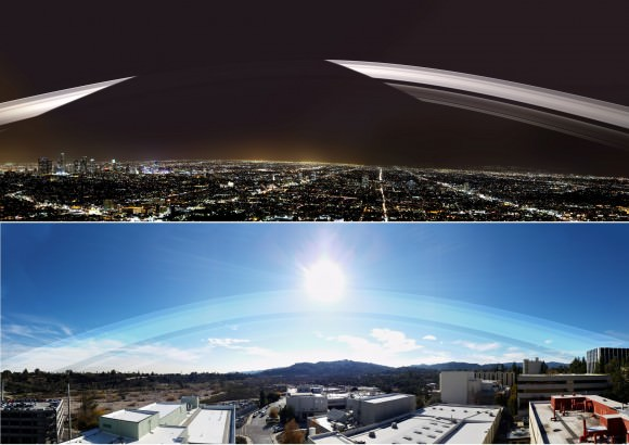 Earth's ring system, as it would appear at midday over Pasadena, California. Credit: Kevin Gill/Flickr