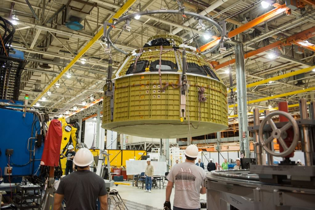 Welding together of Orion EM-1 pressure vessel was completed on Jan. 13, 2016 at NASA's Michoud Assembly Facility in New Orleans. The pressure vessel is the primary structure of the Orion spacecraft destined for human missions to deep space and Mars.  Credits: NASA