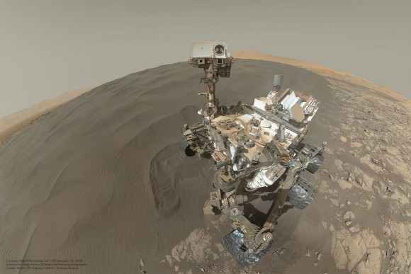 Curiosity rover 'selfie' at the Bagnold Dunes on Mars. The mosaic includes 57 images taken on Sol 1228 (January 19, 2016).  Credit: NASA/JPL-Caltech/MSSS/Andrew Bodrov.