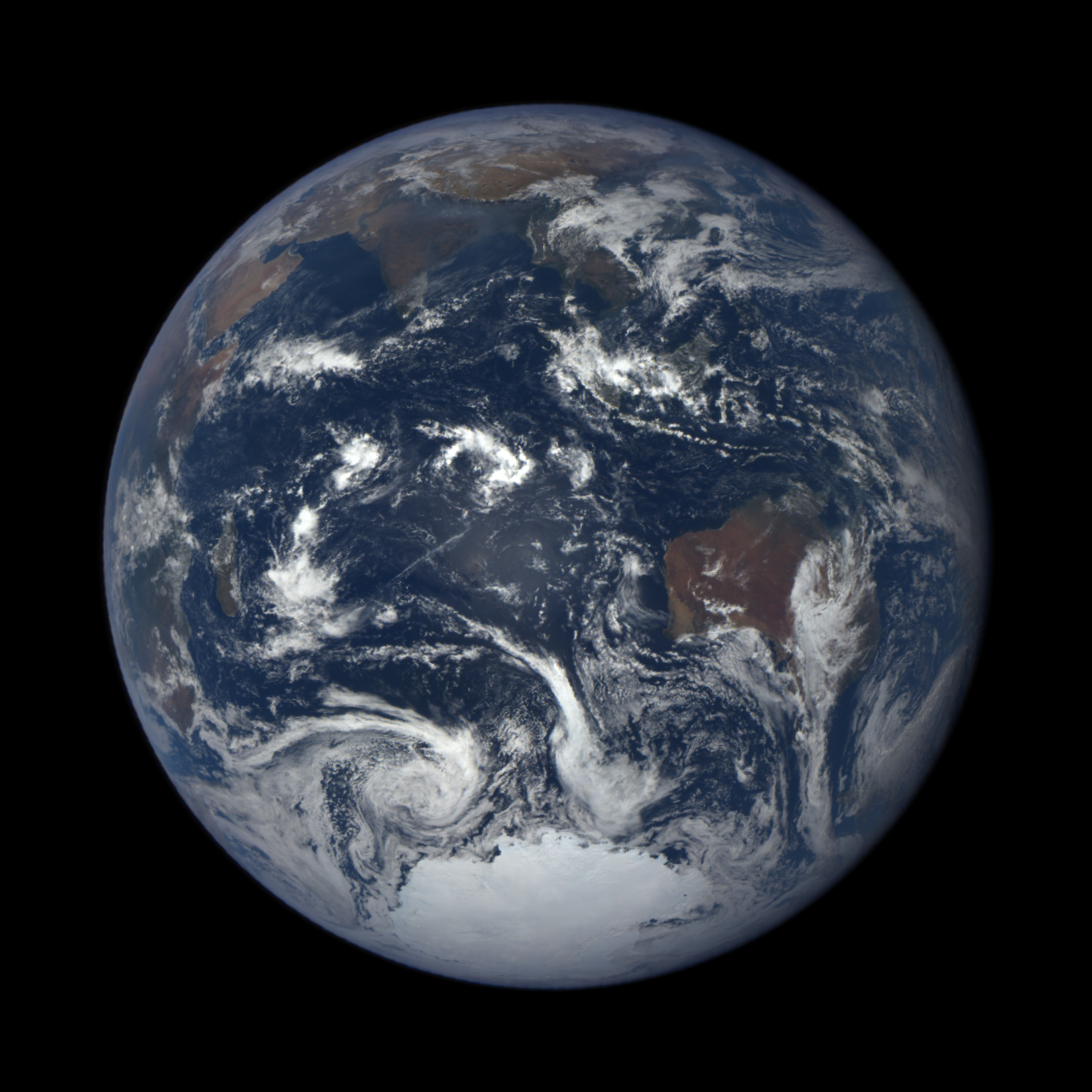 NOAA/NASA DSCOVR  satellite captured this EPIC camera global image of Earth from almost a million miles away on Jan 1, 2016 at 06:14 GMT.   Credit: NOAA/NASA