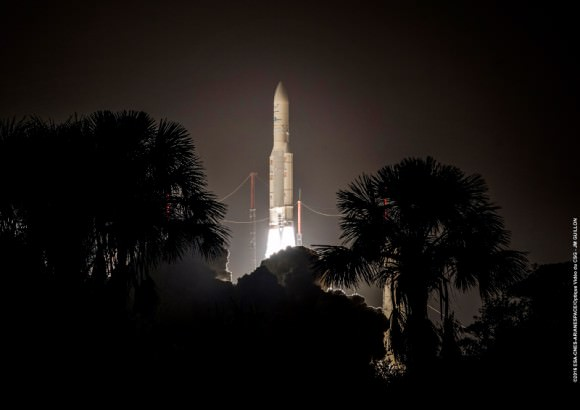 The Ariane5 lifting off from Kourou in French Guiana. Image: ESA/Arianespace.