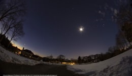 5 Planets Alignment  The Moon 01-30-2016, 06:13am EST outside of Warrenton, Virginia. Image credit and copyright: John Chumack  Canon 6D DSLR, 8mm fisheye Lens, Slightly Cropped  ISO 800, 8 second exposure,