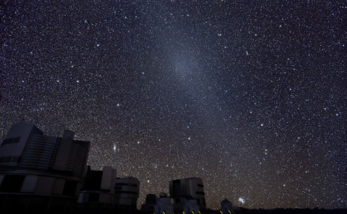 The gegenschein visible as the bright 'knot' in the zodiacal glow high above the VLT. Image credit: ESO/Y. Beletsky