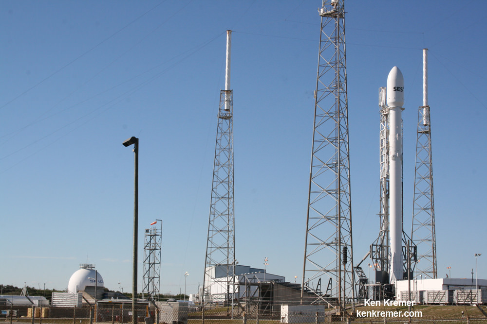 Upgraded SpaceX Falcon 9 awaits launch of SES-9 communications satellite on Feb. 25, 2016 from Pad 40 at Cape Canaveral, FL. Credit: Ken Kremer/kenkremer.com