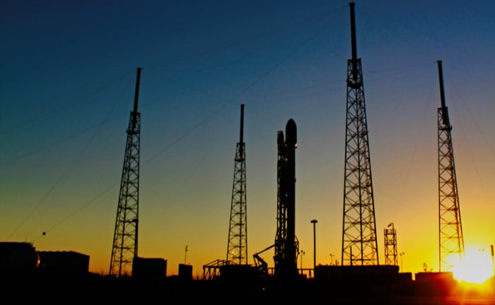 Sunset view of SpaceX Falcon 9 awaiting launch of SES-9 communications satellite on Feb. 28, 2016 from Pad 40 at Cape Canaveral, FL after two fueling scrubs. Credit: Ken Kremer/kenkremer.com