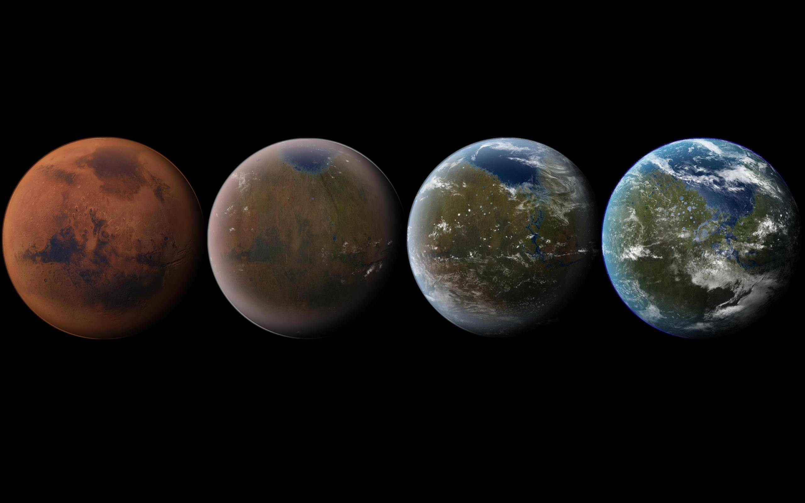 Artist's impression of the terraforming of Mars, from its current state to a livable world. Credit: Daein Ballard
