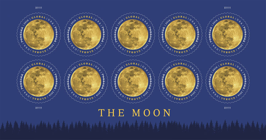 Ten of the round Global Forever stamps of the full moon. Issued at the price of $1.20, this Global Forever stamp can be used to mail a one-ounce letter to any country to which First-Class Mail International service is available. Credits: USPS/Greg Breeding under the art direction of William Gicker © 2016 USPS