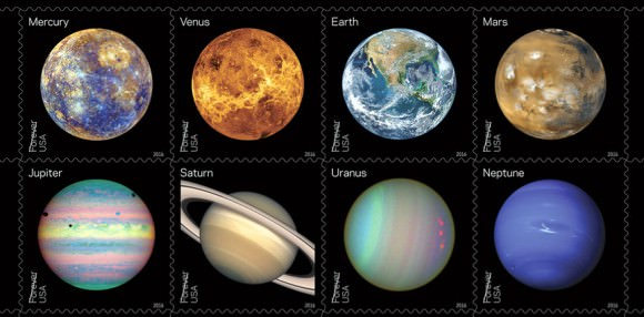 """The Postal Service will showcase some of the more compelling historic, full-disk images of the planets obtained during the last half-century of space exploration. Some show the planets' """"true color"""" like Earth and Mars — what one might see if traveling through space. Others, such as Venus, use colors to represent and visualize certain features of a planet based in imaging data. Still others (red storms on Uranus) use the near-infrared spectrum to show things that cannot be seen by the human eye. Credits: USPS/Antonio Alcalá © 2016 USPS"""