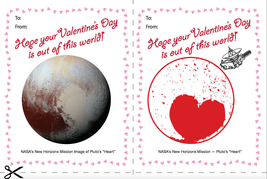 Happy Valentine's Day from the Pluto New Horizon's mission! Click to download a pdf file you can print out and give as a valentine. Credit: NASA