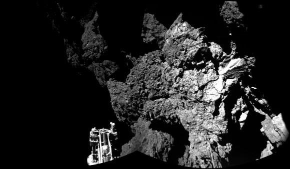 Philae's view via its CIVA instrument after landing. Credit: ESA/Rosetta/Philae/CIVA