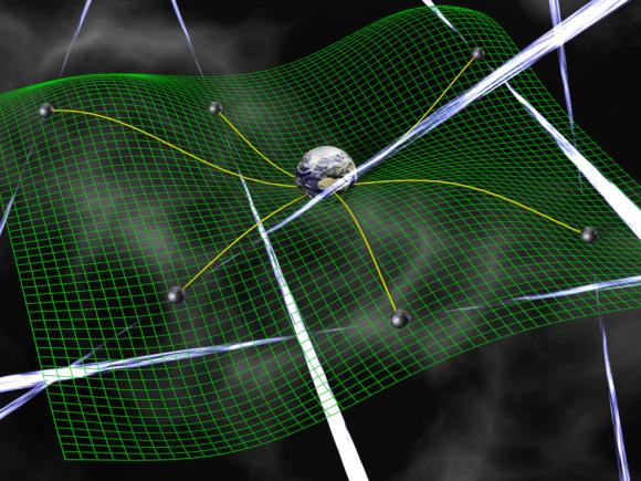 An artist's conception of a 'pulsar web.' Image credit: David Champion/NASA/JPL