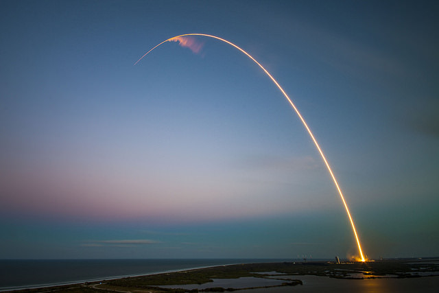 SpaceX Falcon 9 and SES-9 streak to orbit in this long time exposure image after liftoff from Cape Canaveral Air Force Station, FL on March 4, 2016.  Credit: SpaceX/Ben Cooper