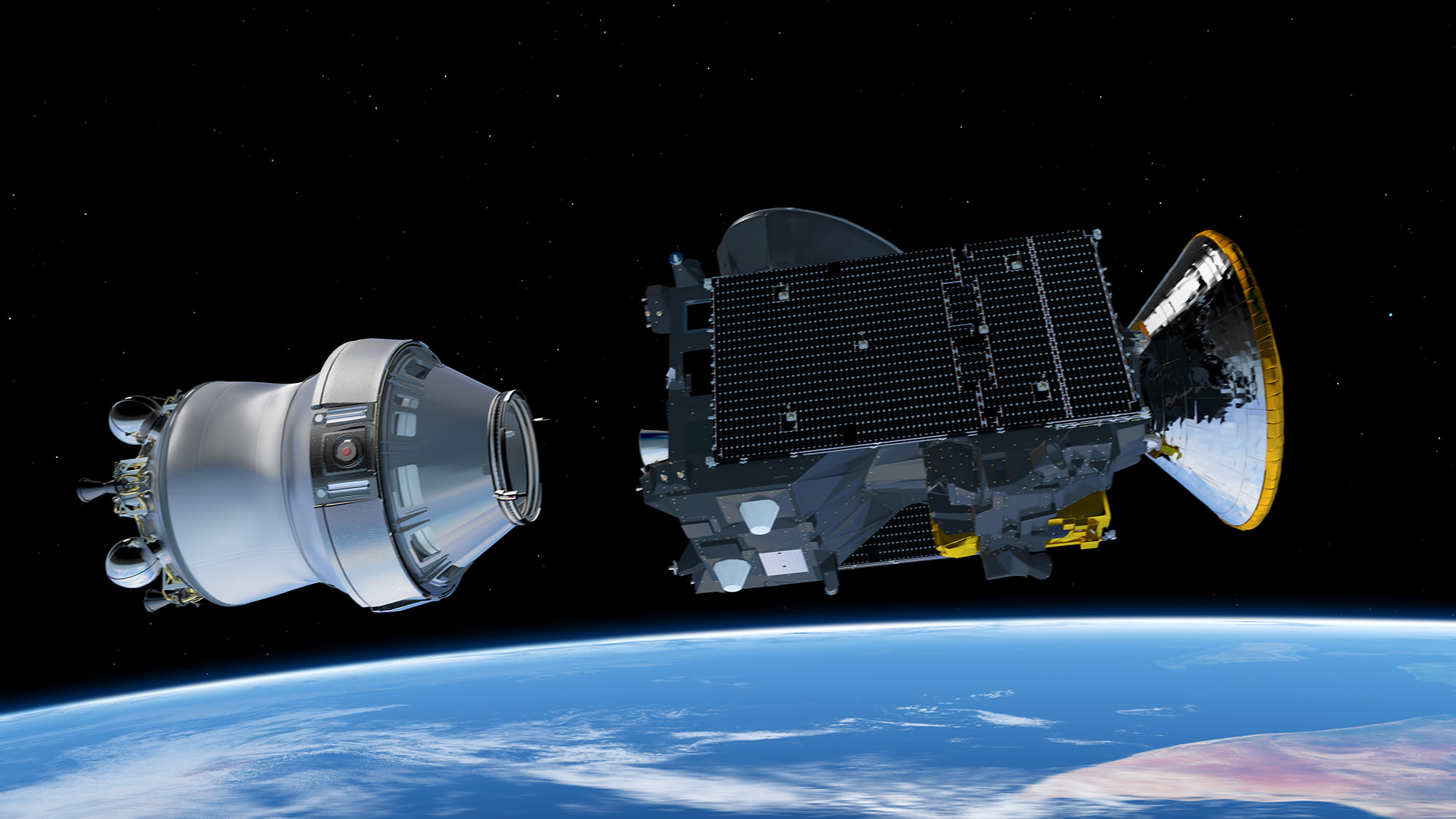 Artists concept of ExoMars spacecraft separation from Breeze fourth stage. Credit: ESA