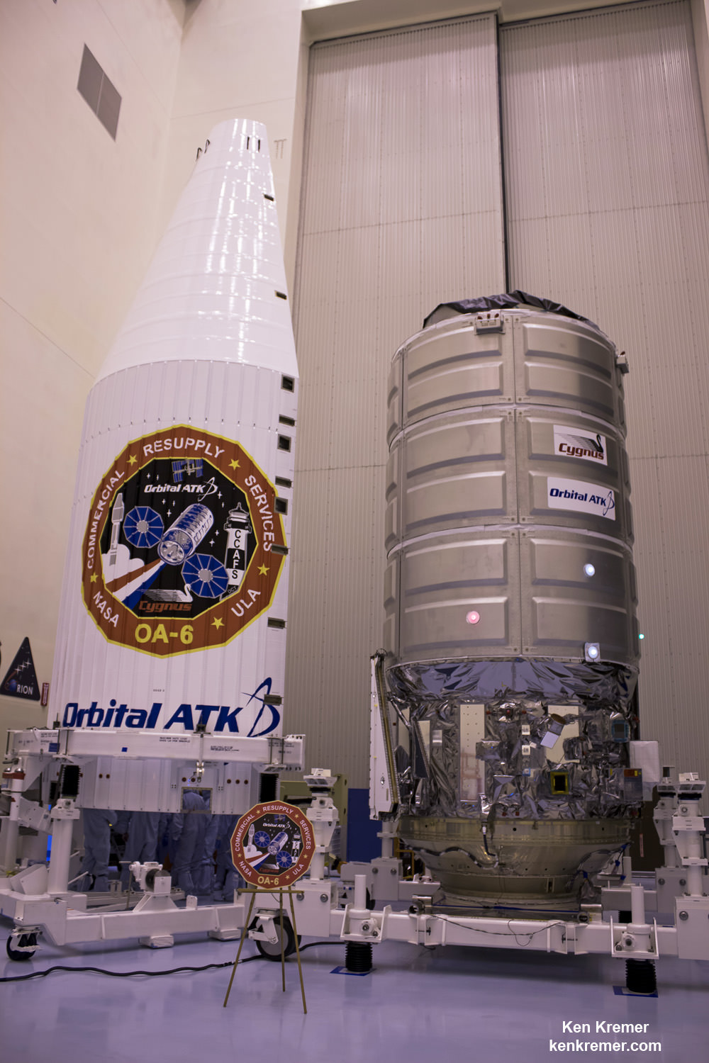 A Cygnus cargo spacecraft named the SS Rick Husband  is being prepared inside the Payload Hazardous Servicing Facility at NASA's Kennedy Space Center for upcoming Orbital ATK CRS-6/OA-6 mission to deliver hardware and supplies to the International Space Station. Cygnus is scheduled to lift off atop a United Launch Alliance Atlas V rocket on March 22, 2016.  Credit: Ken Kremer/kenkremer.com