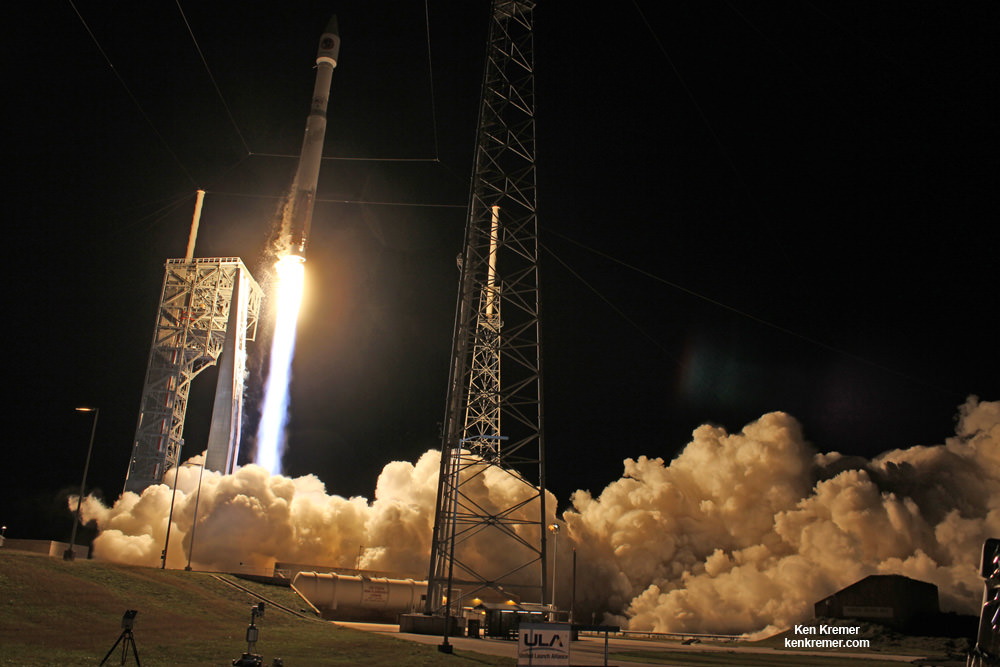 A United Launch Alliance (ULA) Atlas V launch vehicle lifts off from Cape Canaveral Air Force Station carrying a Cygnus resupply spacecraft on the Orbital ATK CRS-6 mission to the International Space Station. Liftoff was at 11:05 p.m. EDT on March 22, 2016.  The spacecraft will deliver 7,500 pounds of supplies, science payloads and experiments.  Credit: Ken Kremer/kenkremer.com