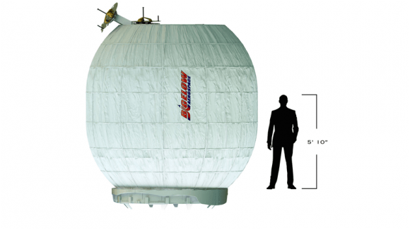 The BEAM with human figure for scale. Image: Bigelow Aerospace.