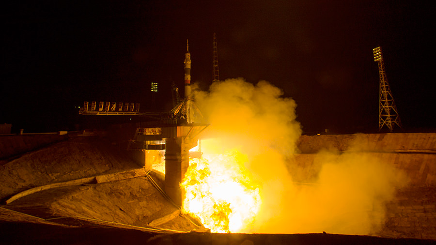 The Soyuz TMA-20M rocket launches from the Baikonur Cosmodrome in Kazakhstan on Saturday, March 19, 2016 carrying Expedition 47 Soyuz Commander Alexey Ovchinin of Roscosmos, Flight Engineer Jeff Williams of NASA, and Flight Engineer Oleg Skripochka of Roscosmos into orbit to begin their five and a half month mission on the International Space Station.  Credit: NASA/Aubrey Gemignani