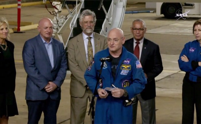 NASA astronaut Scott Kelly landed at Houston's Ellington Field around 2:30 AM, Mar. 3, 2016, marking his return to the U.S. following an agency record-setting year in space aboard the International Space Station.  Kelly was greeted in Houston by Second Lady of the United States Dr. Jill Biden, Assistant to the President for Science and Technology Dr. John P. Holdren, NASA Administrator Charles Bolden, and Kelly's identical twin brother and former NASA astronaut Mark Kelly. Credit: NASA