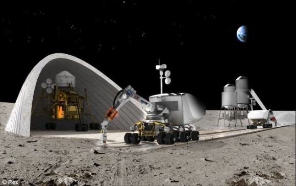 Artist's concept for a lunar base using construction robots and a form of D printing contour-crafitng.