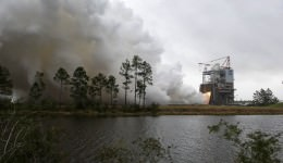 NASA engineers conduct a successful test firing of RS-25 rocket engine No. 2059 on the A-1 Test Stand at NASA's Stennis Space Center in Bay St. Louis, Mississippi. The hot fire marks the first test of an RS-25 flight engine for NASA's new Space Launch System vehicle.  Credits: NASA/SSC