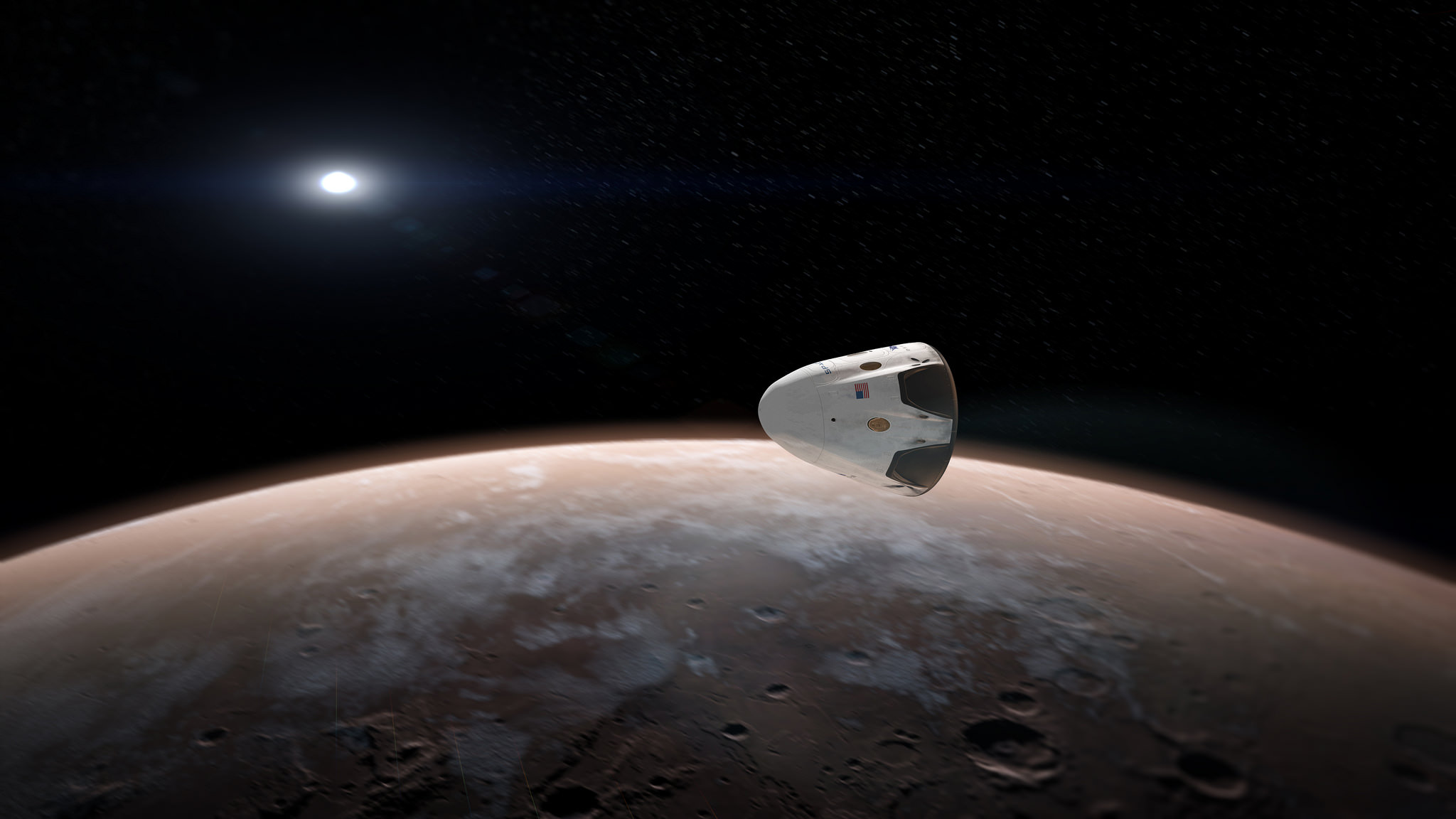 Artists concept for sending SpaceX Red Dragon spacecraft to Mars as early as 2018.  Credit: SpaceX