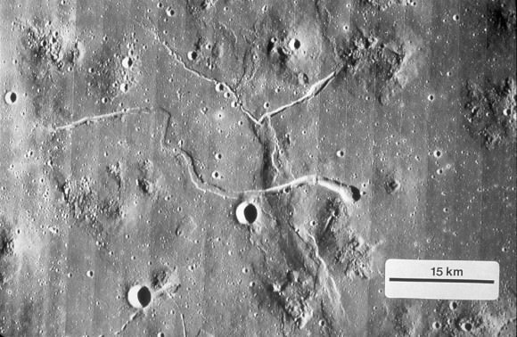 Marius Hills, which shows multiple lunar domes and two large sinuous rilles. Credit: NASA/LPI