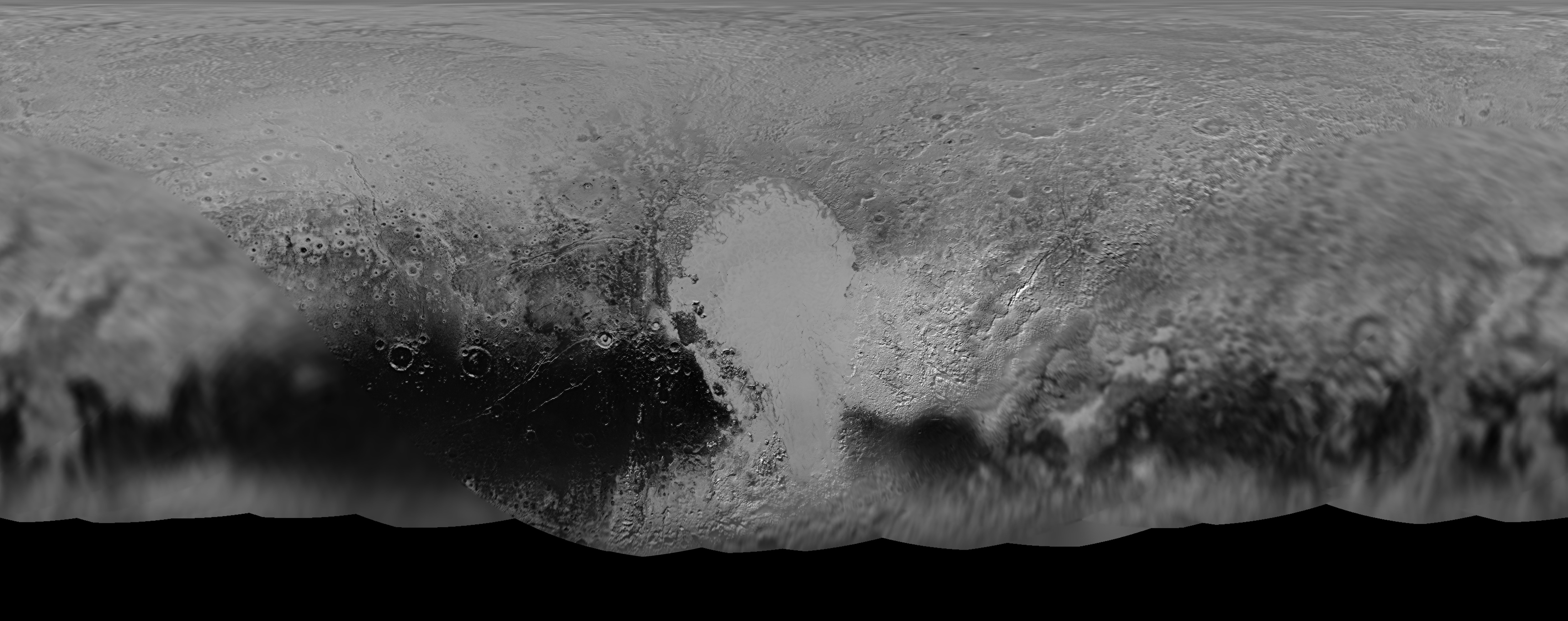 NASA's New Horizons mission science team has produced this updated panchromatic (black-and-white) global map of Pluto. The map includes all resolved images of Pluto's surface acquired at pixel resolutions ranging from 18 miles (30 kilometers) on the Charon-facing hemisphere (left and right edges of the map) to 770 feet (235 meters) on the hemisphere facing New Horizons during the closest approach on July 14, 2015 (map center).  Credits: NASA/JHUAPL/SWRI