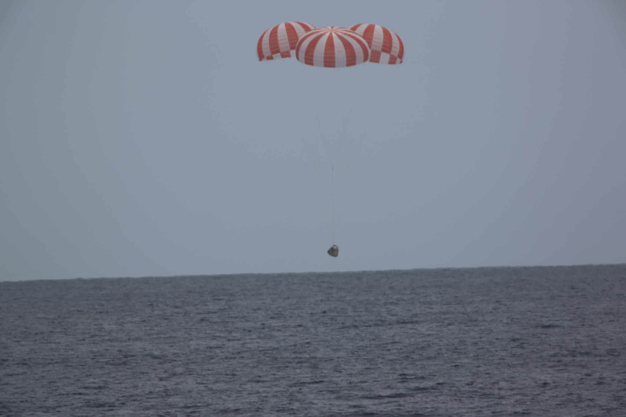A SpaceX Dragon cargo spacecraft splashed down in the Pacific Ocean at 2:51 p.m. EDT today, May 11, with more than 3,700 pounds of NASA cargo, science and technology demonstration samples from the International Space Station.  Credit: NASA