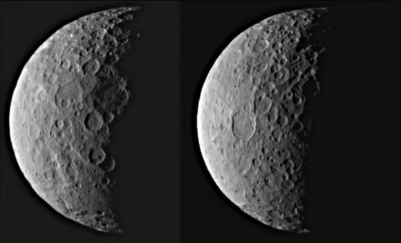 Ceres in Half Shadow http://photojournal.jpl.nasa.gov/catalog/PIA19310 NASA's Dawn spacecraft took these images of dwarf planet Ceres from about 25,000 miles (40,000 kilometers) away on Feb. 25, 2015. Credit: NASA/JPL/Caltech/UCLA/MPS/DLR/IDA
