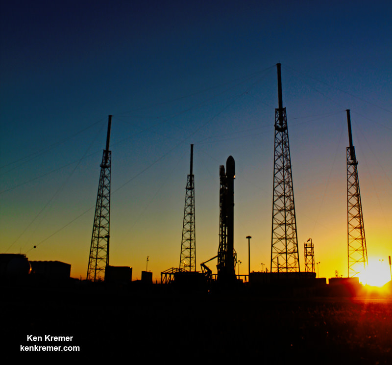 SpaceX Falcon 9 rocket stands poised for launch on May 6 at Cape Canaveral Air Force Station, FL, similar to this file photo.  Credit: Ken Kremer/kenkremer