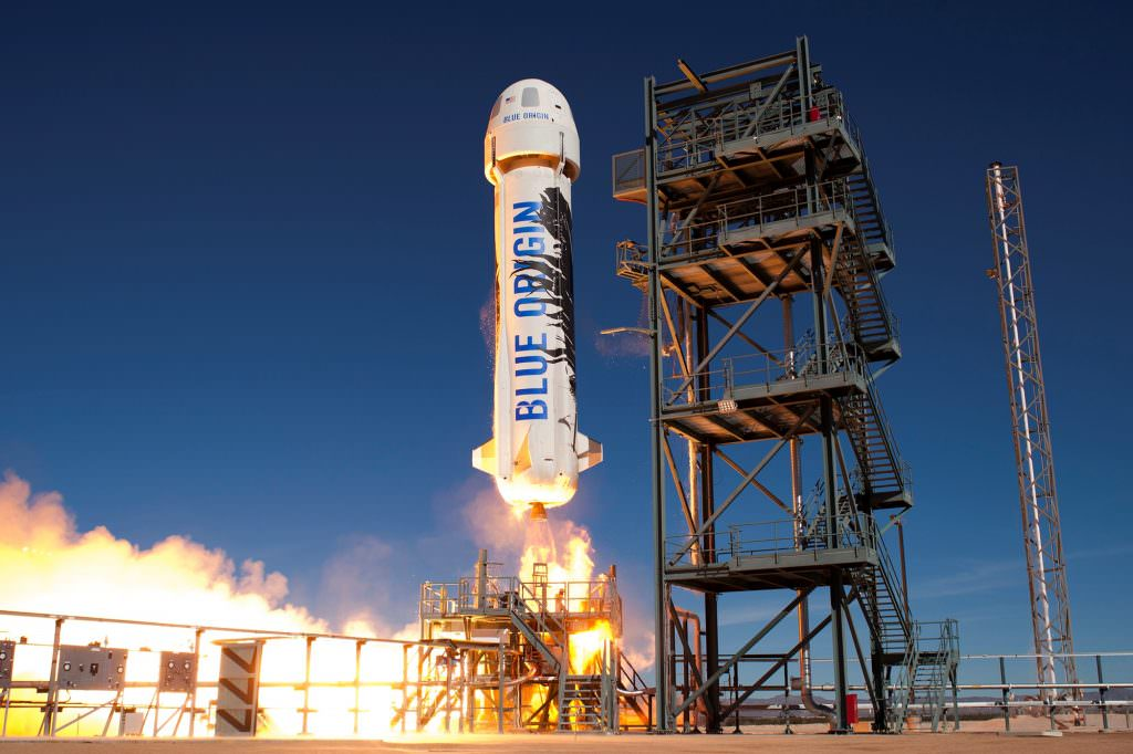 The New Shepard launching from its facility in West Texas. Image: Blue Origin