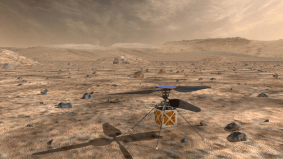 With a body the size of a tissue box, this helicopter would partner with a Martian rover, and help the rover cover more ground in a day. Image: NASA