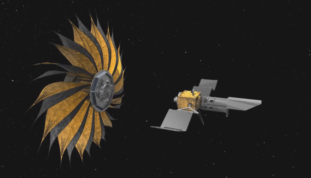 Artist's concept of the prototype starshade, a giant structure designed to block the glare of stars so that future space telescopes can take pictures of planets. Credit: NASA/JPL