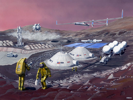 We've been dreaming about a Mars colony for a long time, as the lovely retro drawing shows. Will we ever have one? Image: NASA