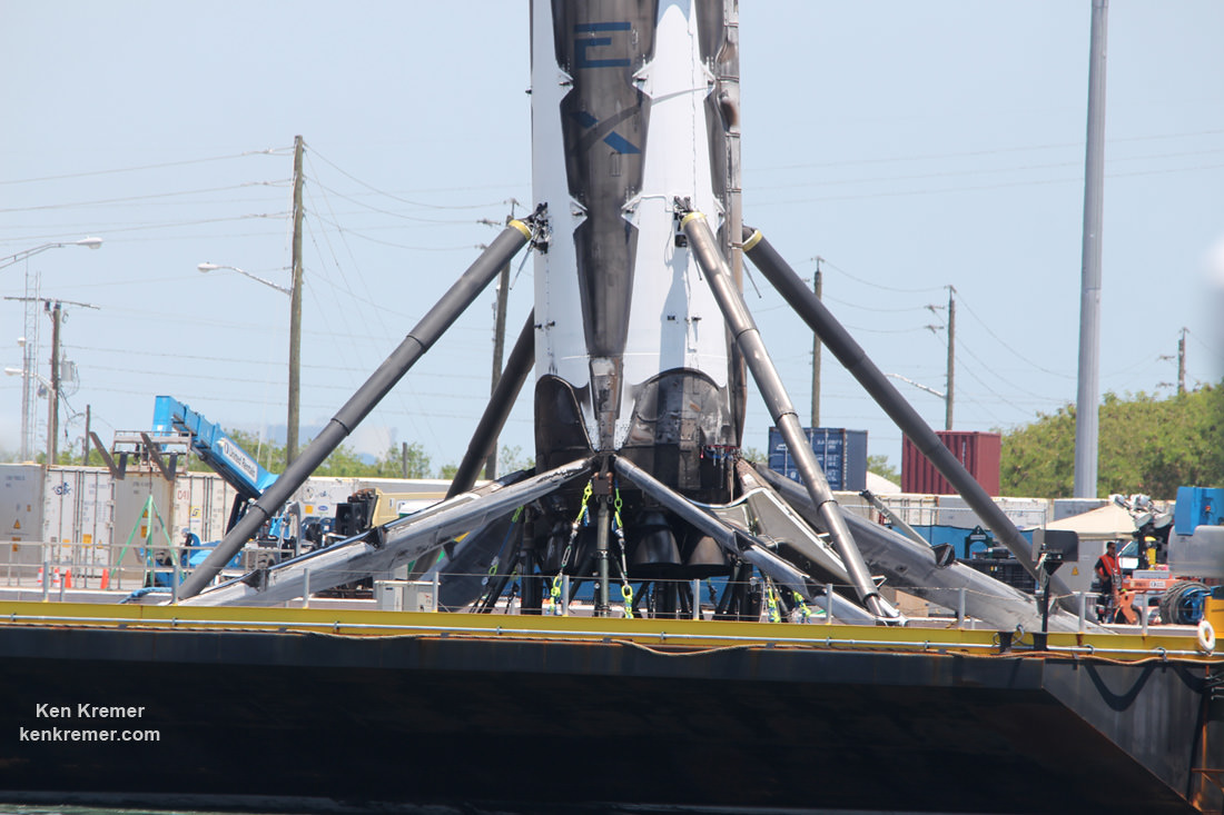 Up close view of base of recovered SpaceX Falcon 9 atop droneship during arrival on June 2, 2016.  Credit: Ken Kremer/kenkremer.com
