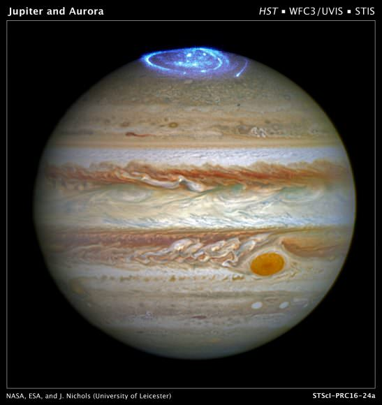 Jupiter has spectacular aurora, such as this view captured by the Hubble Space Telescope. Auroras are formed when charged particles in the space surrounding the planet are accelerated to high energies along the planet's magnetic field. Credit: NASA, ESA, and J. Nichols (University of Leicester)
