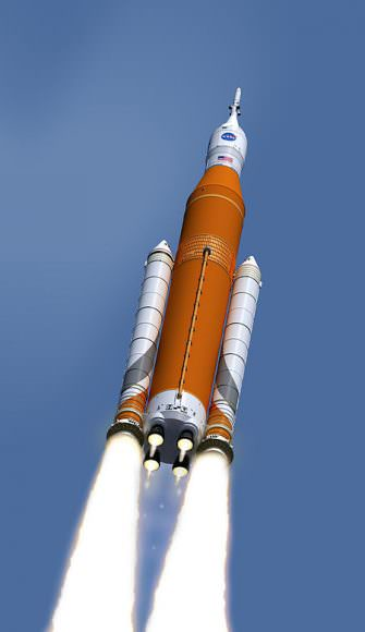 An artist's interpretation of NASA's Space Launch System Block 1 configuration with an Orion vehicle. Image: NASA