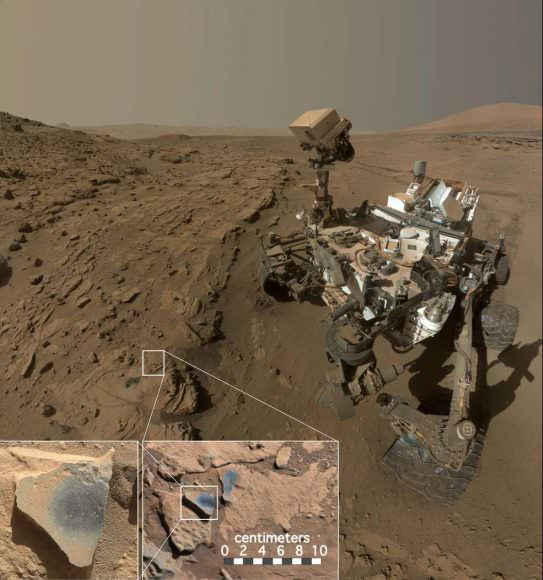 "This scene shows NASA's Curiosity Mars rover at a location called ""Windjana,"" where the rover found rocks containing manganese-oxide minerals, which require abundant water and strongly oxidizing conditions to form. Credits: NASA/JPL-Caltech/MSSS"
