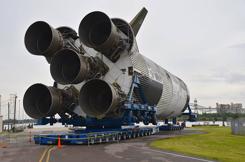 Looking at the business end of the Saturn V as it gets moved towards the barge that will transport it to Mississippi. Image: Infinity Science Center.