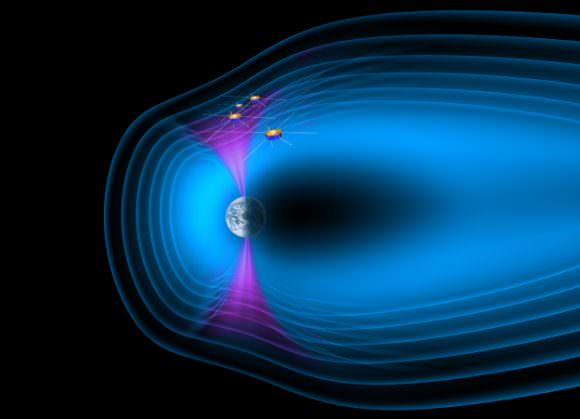 The four Cluster spacecraft crossing the northern cusp of Earth's magnetosphere. Credit: ESA/AOES Medialab