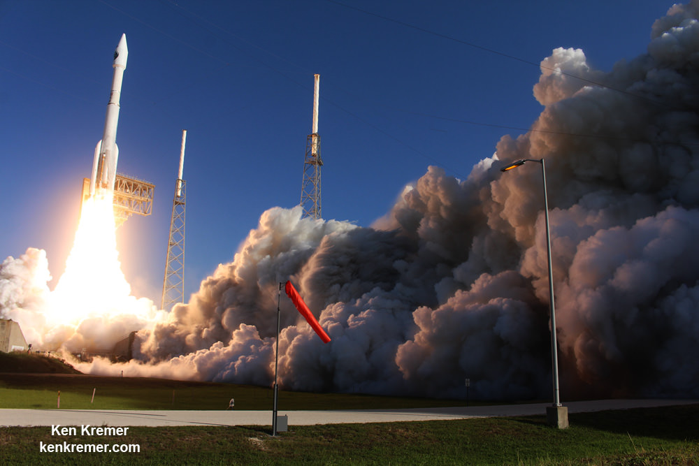 A United Launch Alliance (ULA) Atlas V rocket carrying the NROL-61 surveillance satellite for the National Reconnaissance Office (NRO) lifts off from Space Launch Complex-41 on July 28, 2016 at 8:37 a.m. EDT. Credit: Ken Kremer/kenkremer.com