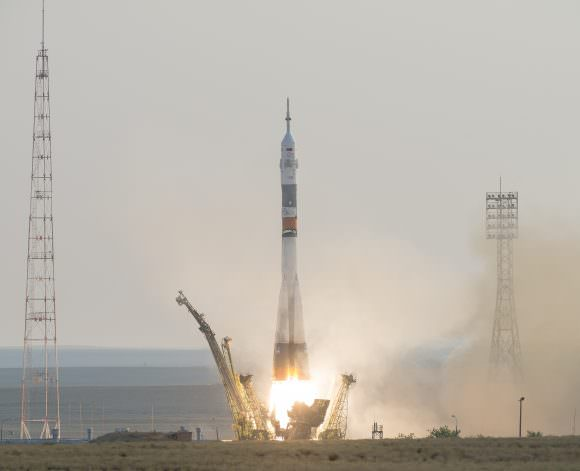 The Soyuz MS-01 spacecraft launches from the Baikonur Cosmodrome with Expedition 48-49 crewmembers Kate Rubins of NASA, Anatoly Ivanishin of Roscosmos and Takuya Onishi of the Japan Aerospace Exploration Agency (JAXA) onboard, Thursday, July 7, 2016 , Kazakh time (July 6 Eastern time), Baikonur, Kazakhstan. Photo Credit: NASA/Bill Ingalls