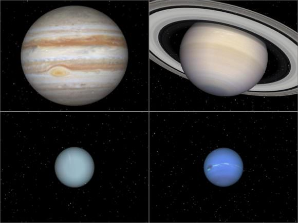 The giant planets of the Solar System (aka. Jovians). Credit: spiff.rit.edu