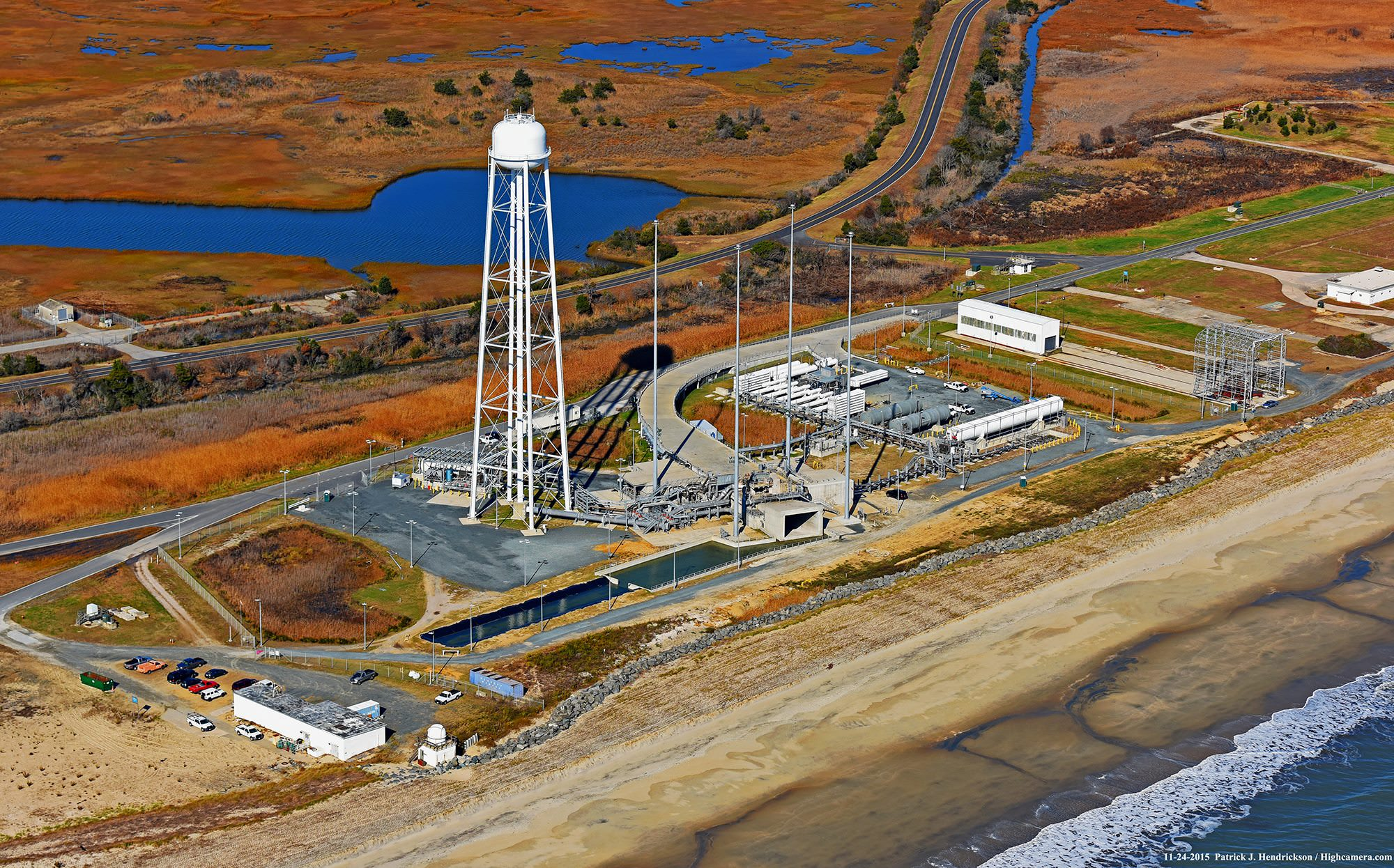 Aerial view of Orbital ATK launch pad at Virginia Space's Mid-Atlantic Regional Spaceport (MARS) Pad 0A located at NASA's Wallops Flight Facility.  Credit: Credit: Patrick J. Hendrickson / Highcamera.com