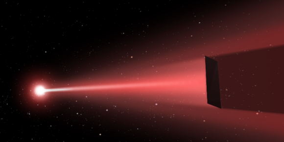 Artist's impression of a directed-energy propulsion laser sail in action. Credit: Q. Zhang/deepspace.ucsb.edu