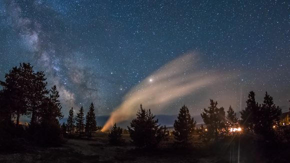 A still from the video 'Hades Exhales,' a timelapse journey through several of Yellowstone National Park's geyser basins.  Credit and copyright: Harun Mehmedinovic/Skyglow Productions.