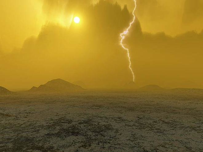 An artistic impression of the surface of Venus showing the thunderstorms and a volcano in the distance. Credit and ©: European Space Agency / J. What more