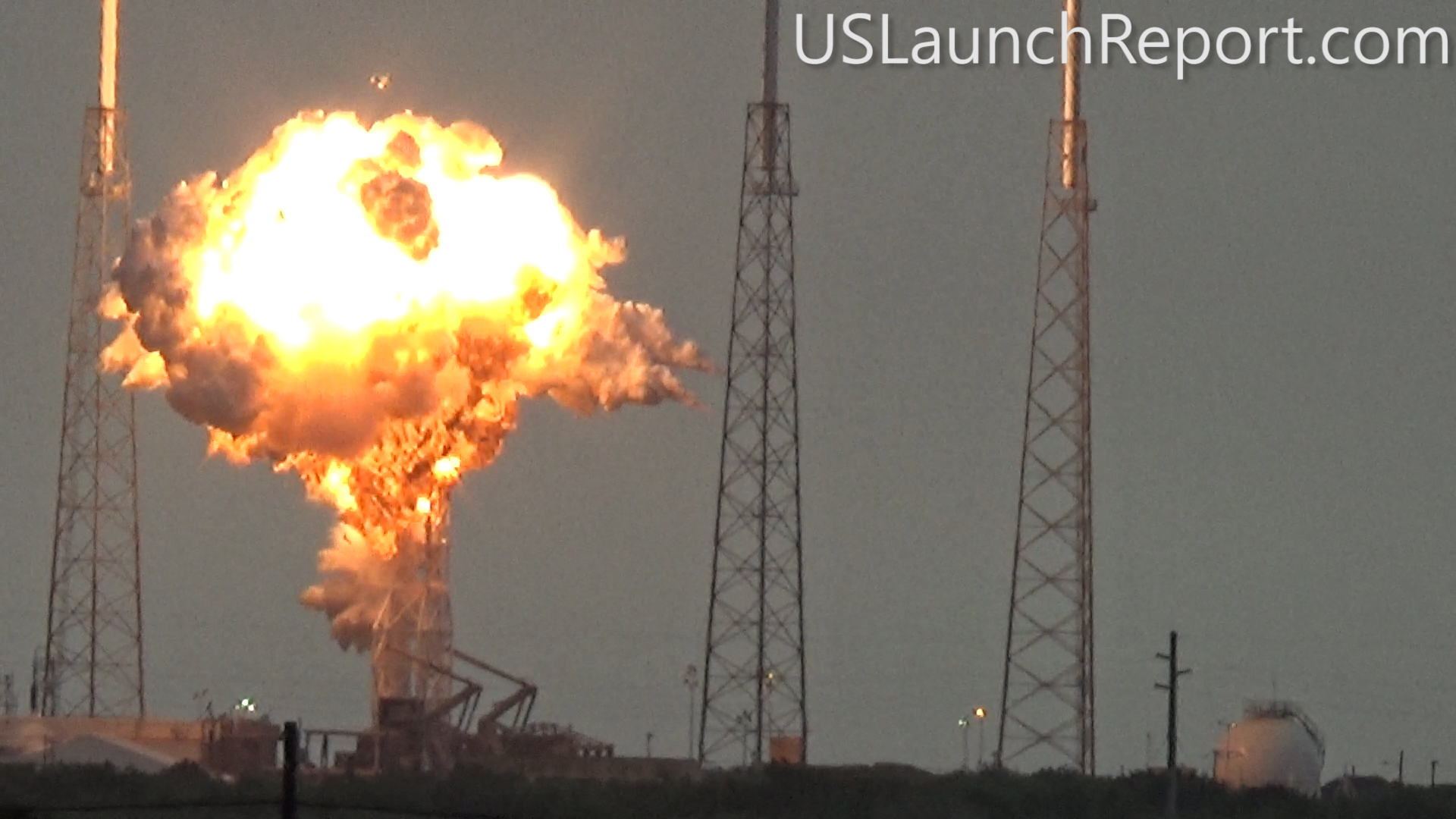 SpaceX Falcon 9 rocket moments after catastrophic explosion destroys the rocket and Amos-6 Israeli satellite payload at launch pad 40 at Cape Canaveral Air Force Station, FL, on Sept. 1, 2016. A static hot fire test was planned ahead of scheduled launch on Sept. 3, 2016. Credit: USLaunchReport